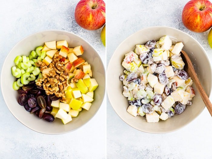 Side by side photos. First is of grapes, celery, walnuts and apples in a bowl The second is the ingredients mixed with yogurt.