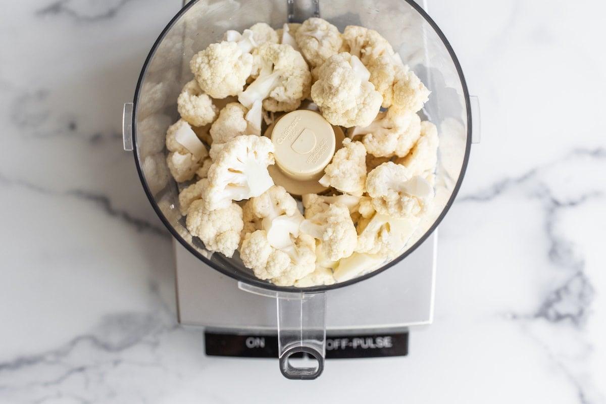 Cauliflower in a food processor.