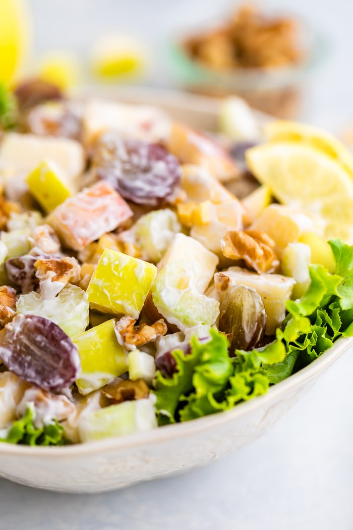 Close up photo of waldorf salad in a bowl.