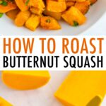 Roasted butternut squash in a bowl, and a squash sliced in half and spoon is scooping out the seeds.