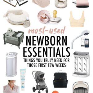 Collage of newborn essential items.