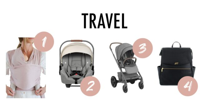 Collage of travel items for newborn babies like a swaddle carrier, car seat, stroller and bag.