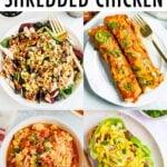 Collage de 4 photos - salade de poulet, enchiladas, soupe et salade de poulet sur du pain.