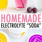 Three glasses of electrolyte soda: lemon lime, grape and orange. A jar with electrolyte powder.