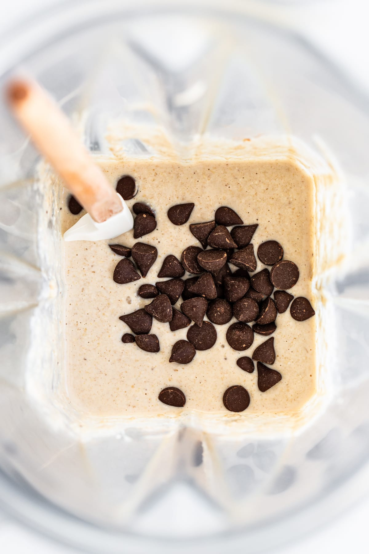 Blender of pancake batter with chocolate chips thrown in.