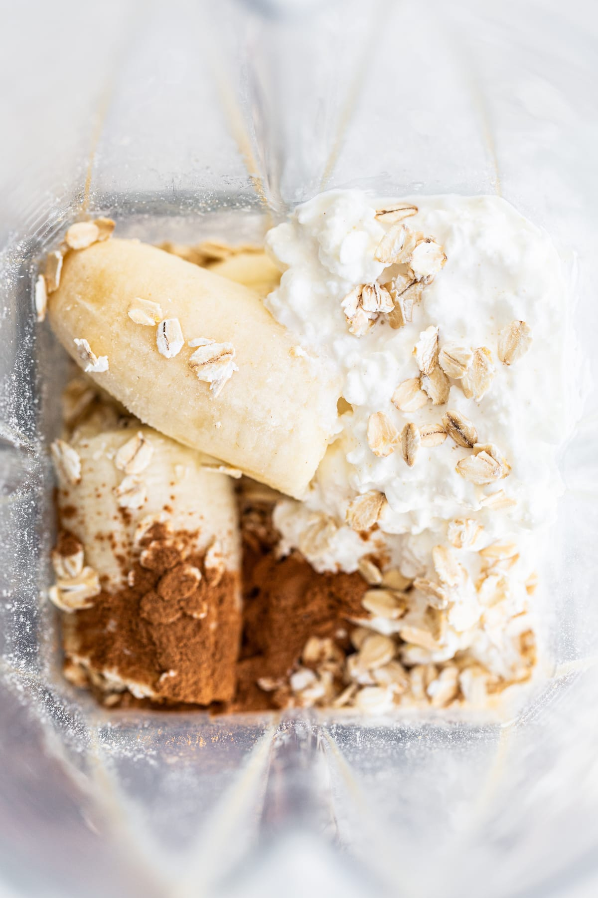 Cinnamon, banana, cottage cheese and oats in a blender.