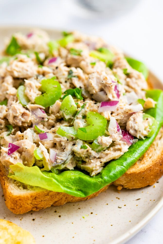 Tuna salad on an open face sandwich with lettuce.