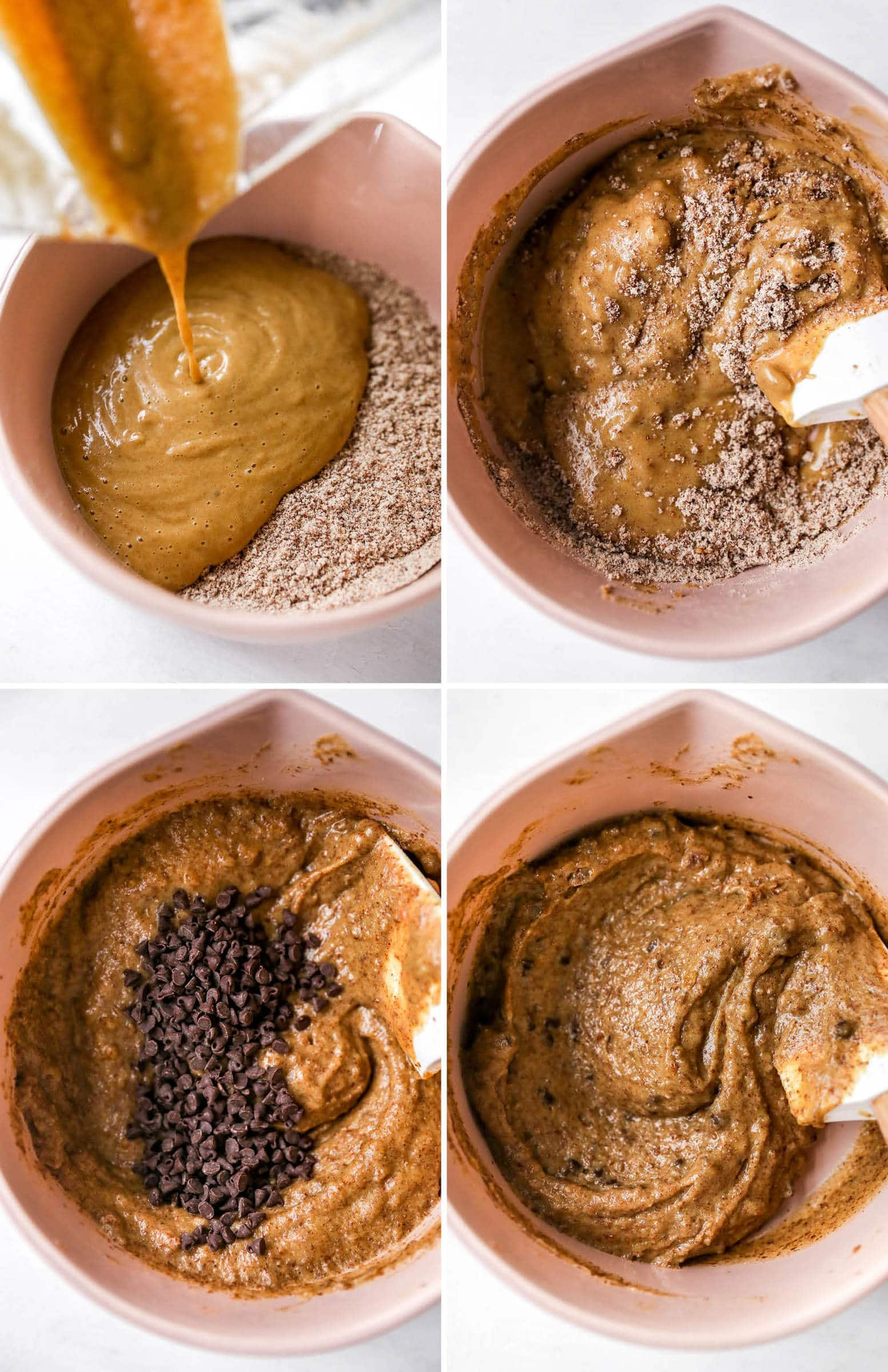 Four photos of a mixing bowl making almond flour chocolate chip batter.