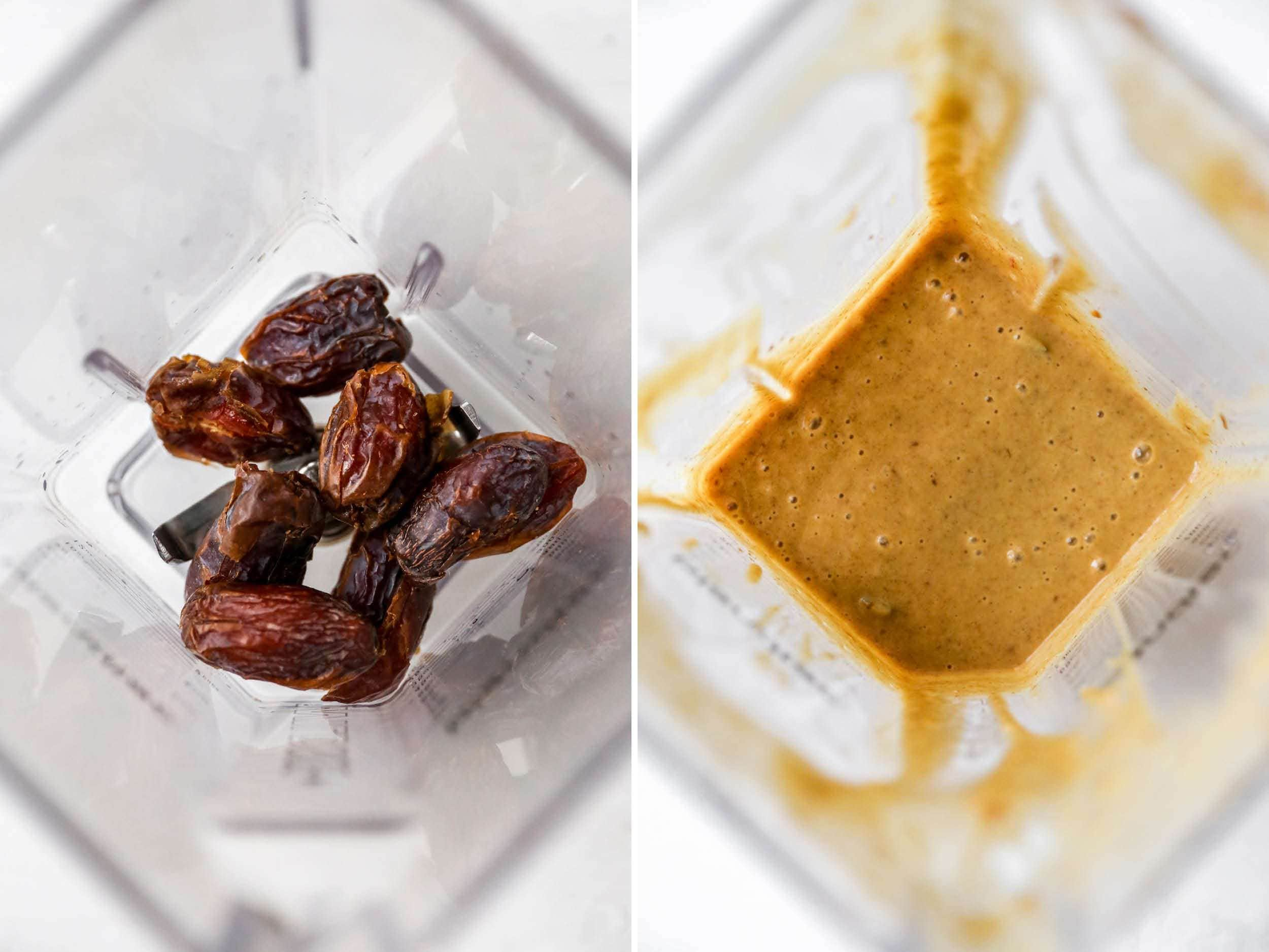 Side by side photo of a blender with dates and then the dates blended with water.