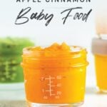 Jar of homemade sweet potato apple baby food.
