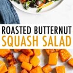 Two photos. Top is of a plate with butternut squash and kale salad and below is roasted butternut squash cubes on a sheet pan.