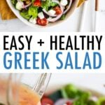 Two photos. One of salad on an oval serving plate. One of a close up of greek salad being drizzled with dressing.