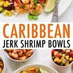 Plates with rice, pineapple salsa, jerk shrimp and plantains with lime and cilantro for garnish.