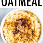 Bowl of oatmeal topped with brown sugar and maple syrup.
