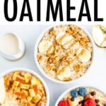 Three bowls of oatmeal with different fruit toppings.
