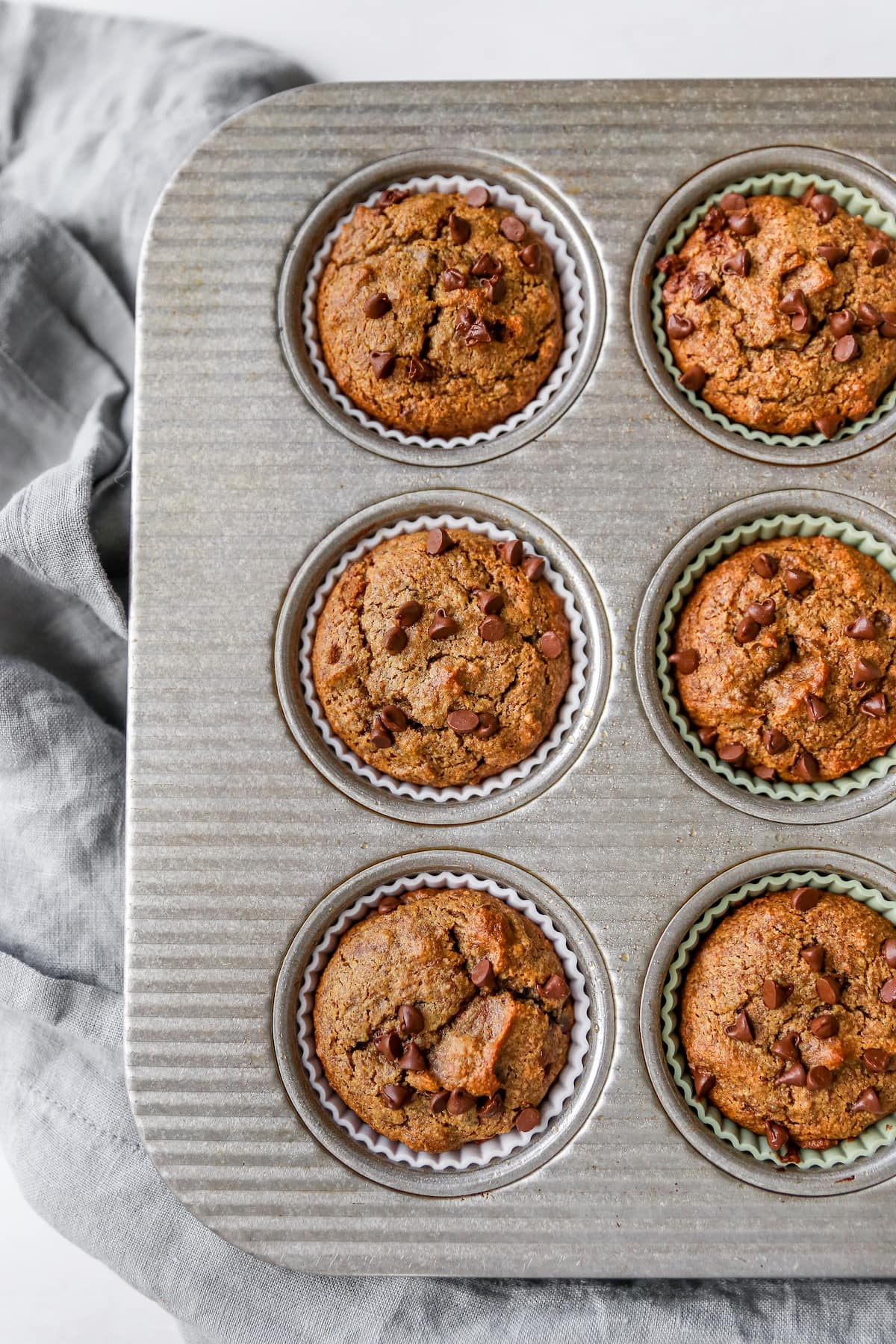 Muffin tin with chocolate chip muffins.