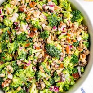 Bowl of broccoli salad.