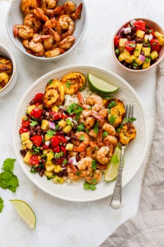 Caribbean Jerk Shrimp Bowls