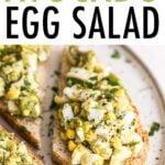 Avocado egg salad served on toast.