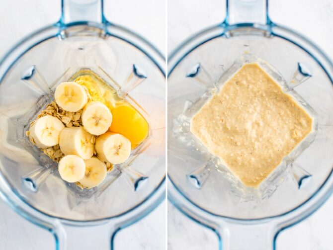 Side by side photos of a blender with ingredients to make banana pancakes before and after being blended.