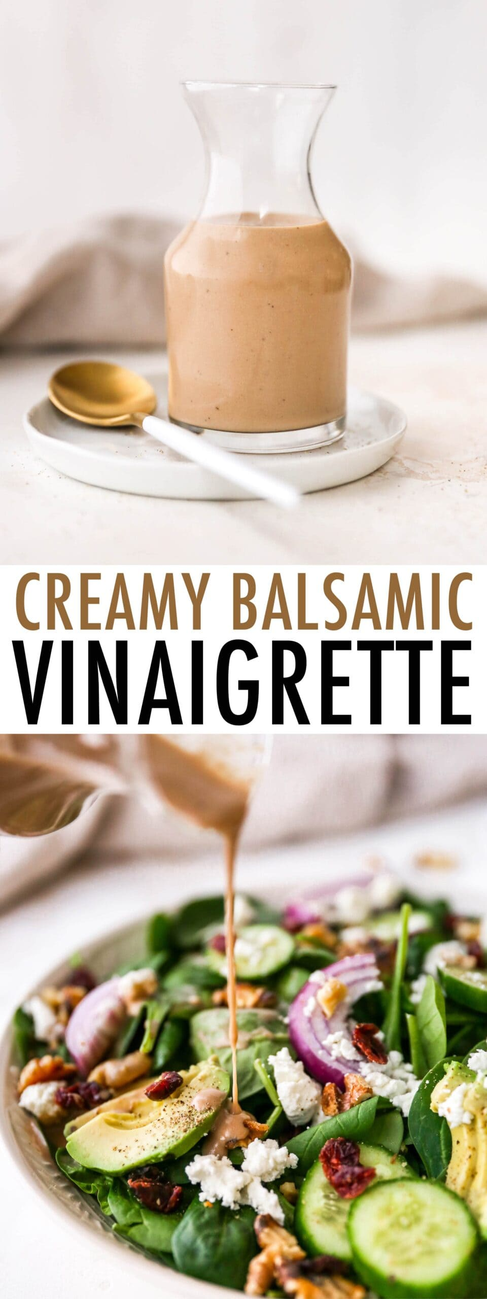 Photo of creamy balsamic dressing in a jar and being drizzled over a salad.