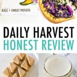 Collage photos of Daily Harvest packaging and the prepared food (milk, veggie bowl, ice cream, smoothie and flatbread).