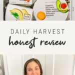 Photo of Daily Harvest packages in a freezer, and a photo of a woman sitting on her counter while holding a Daily Harvest smoothie and smiling.