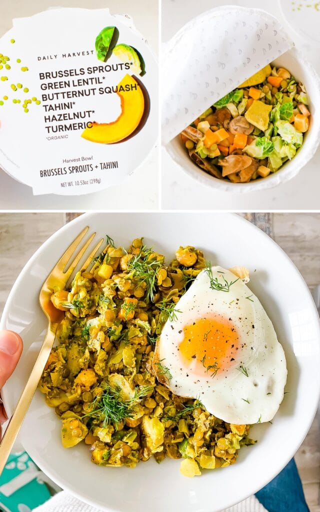 Collage of three photos. The top two photos are of a Daily Harvest container for a brussels and lentil and squash bowl. There is a photo of the lid of the container and a photo of the container opened with the frozen veggies inside. The bottom photo is of a hand holing a bowl of the cooked veggies topped with dill and a fried egg.