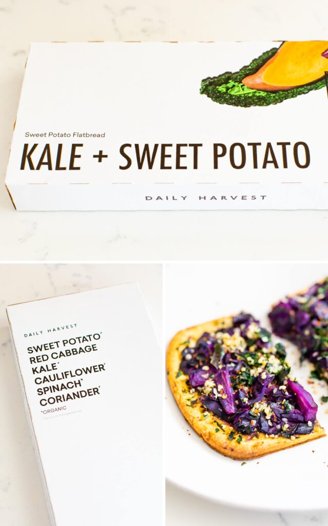 Photos of a box for Daily Harvest kale + sweet potato flat bread, along with a photo of the flatbread on a plate.