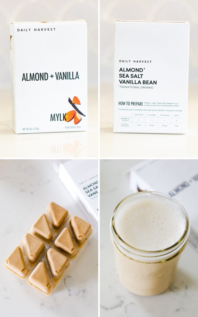 Collage of imaged for Daily Harvest Almond Vanilla Mylk. Photos include a box of the mylk with ingredients, ice cubes of the milk, and a mason jar or the finished mylk.