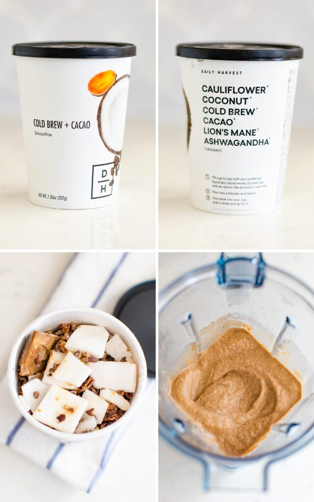Four photos: two is of a container for Daily Harvest's cold brew + cacao smoothie. There is another photo of the container opened and coconut ice cubes and ingredients in the container. The last photo is of the creamy cold brew smoothie in a blender.