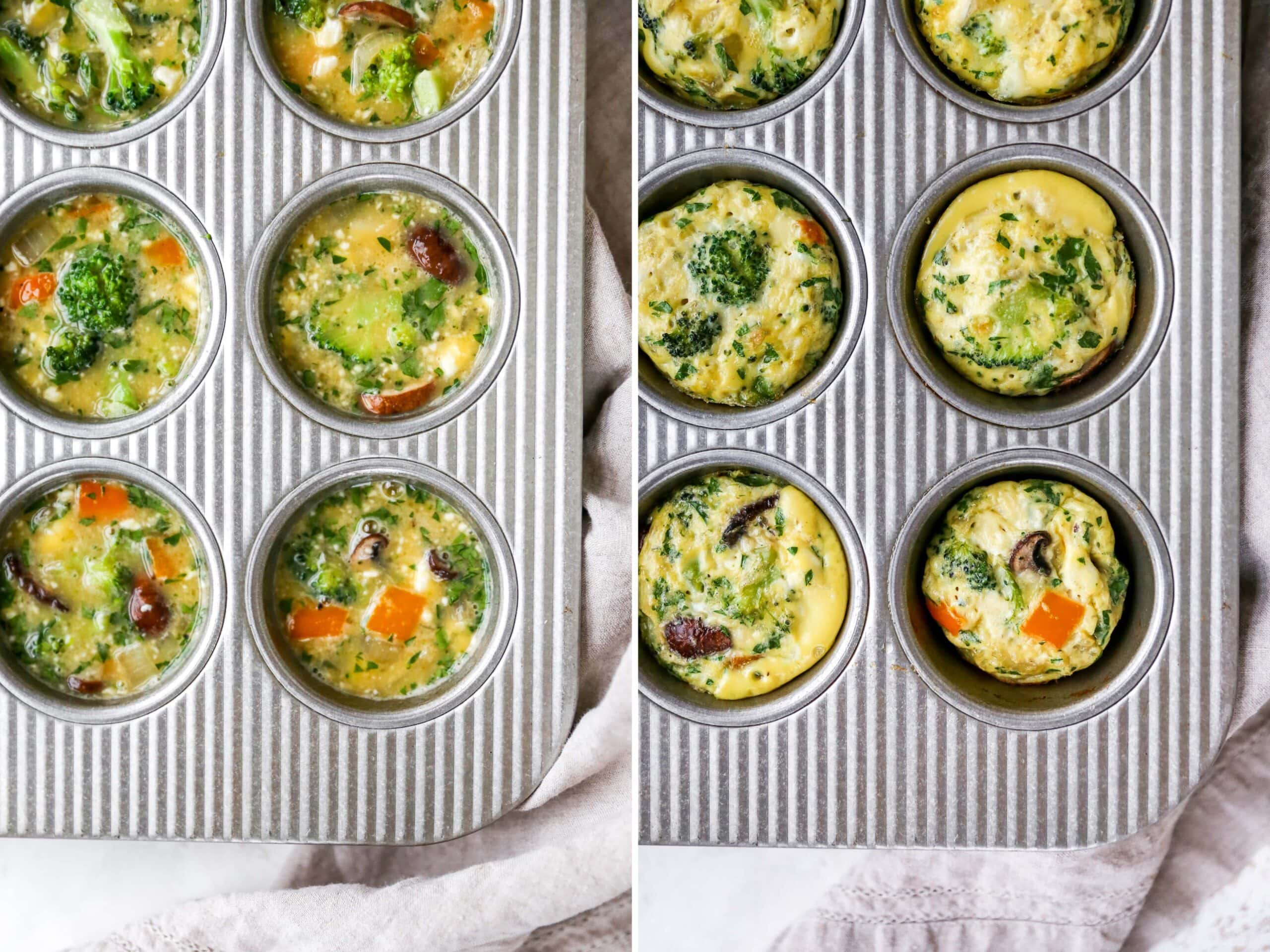 Side by side photos. Egg and veggie mixture in a muffin tin before and after being baked.