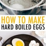 Pot of hard boiled eggs and a plate with peeled and sliced hard boiled eggs.