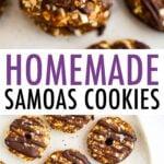 Stack of homemade Samoas and a plate of homemade Samoas.