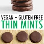 Stack of homemade Thin Mints and Thin Mints on parchment paper.