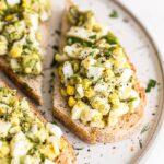Avocado egg salad on toast.