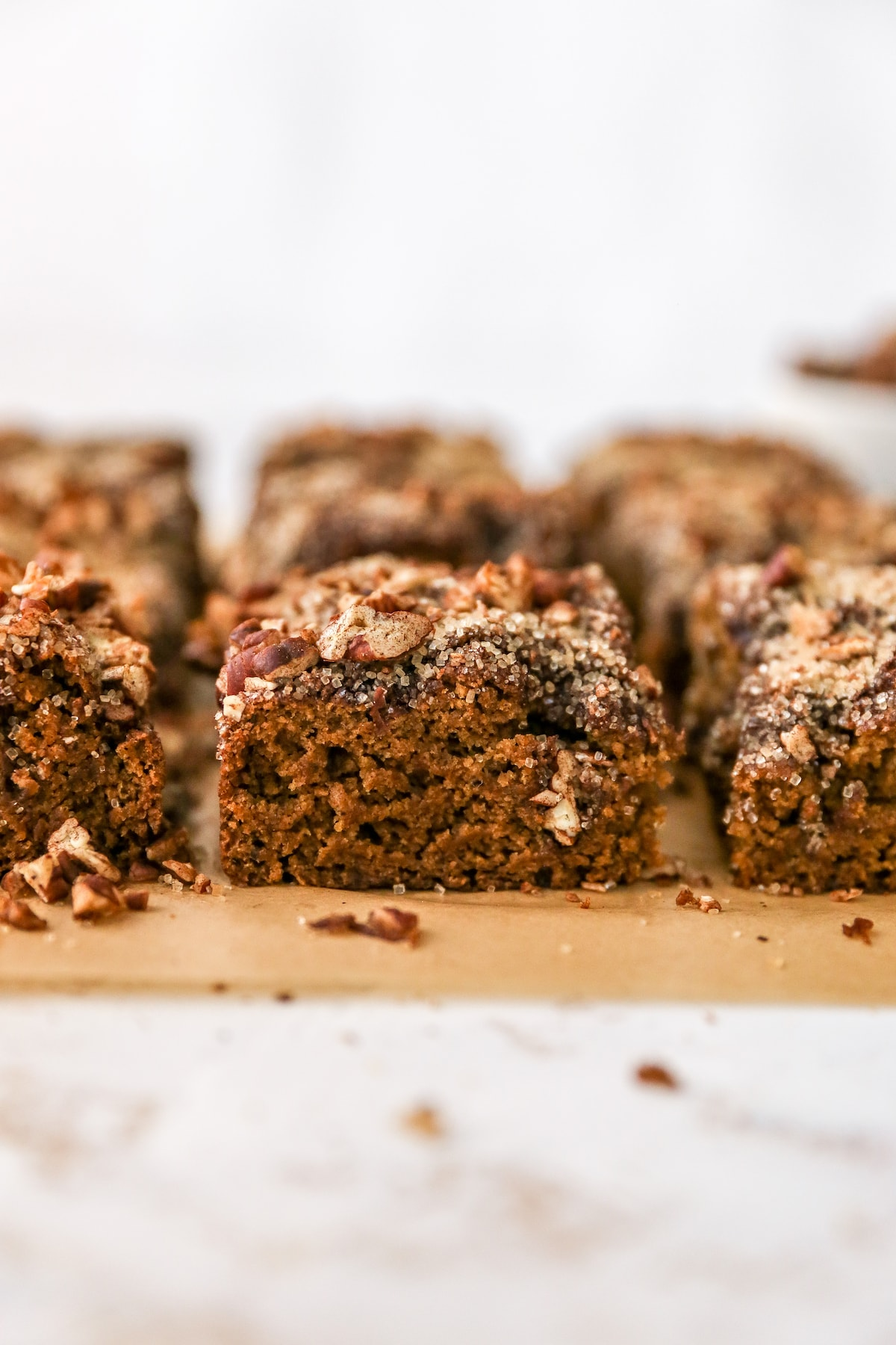 Slices of coffee cake topped with sugar pecan streusel.