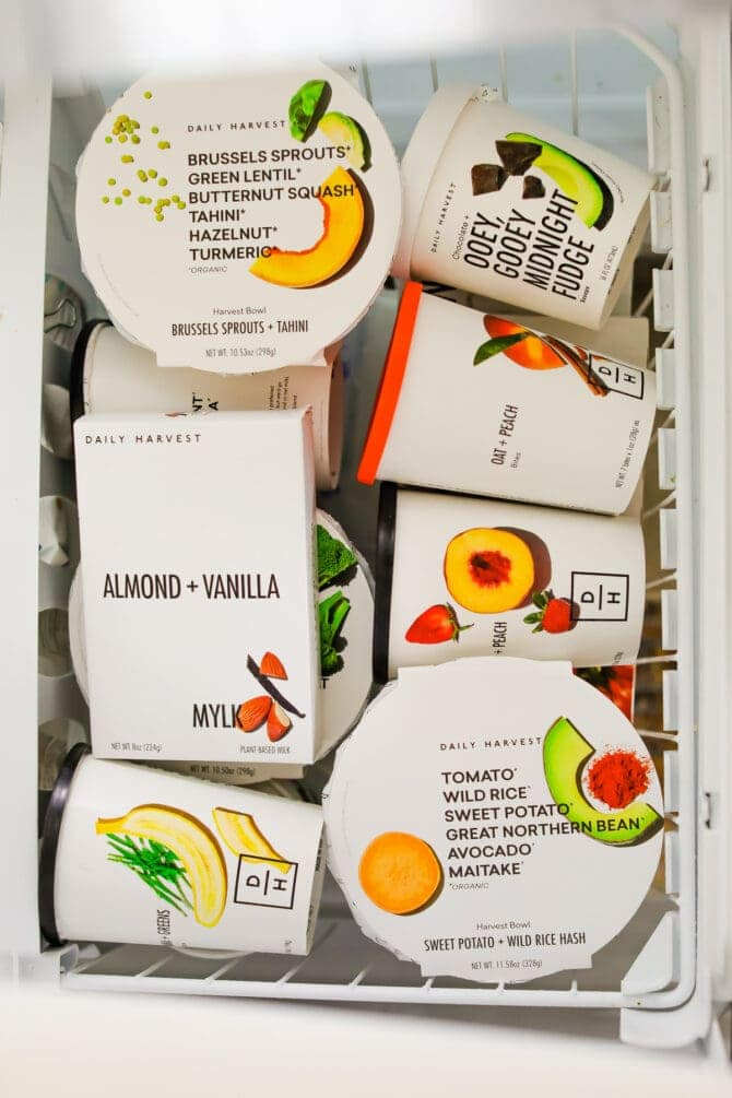 Daily Harvest packages in a freezer.