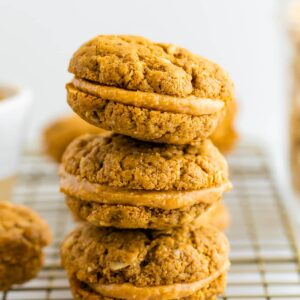 Stack of three homemade do-si-do cookies.