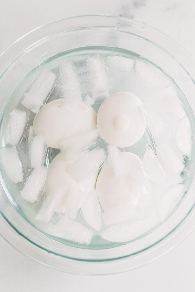 Hard boiled eggs in an ice bath.