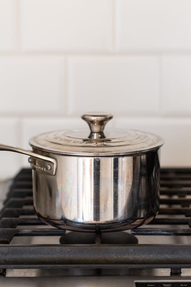 Pot on a stove.