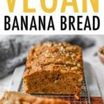 Loaf of banana bread with slices cut out of it.