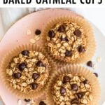 Three chocolate chip baked oatmeal cups on a plate.