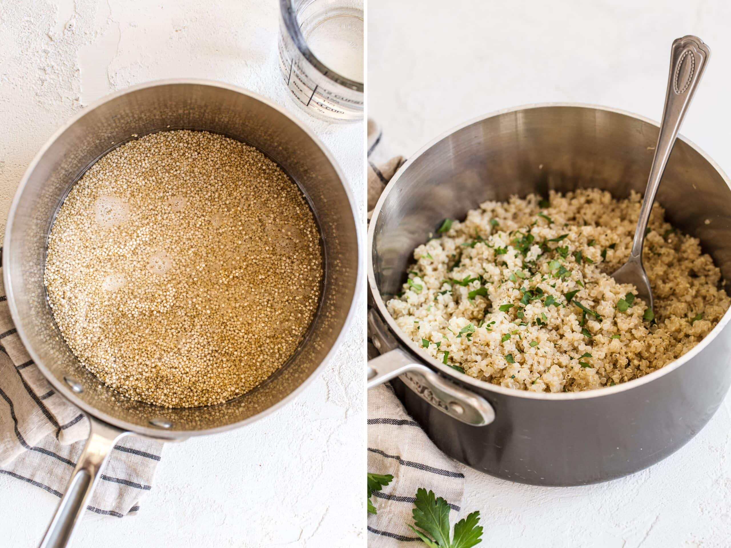 Side by side photos. One is of quinoa and water in a pot. The second is of cooked quinoa in a pot with a spoon and topped with parsley.
