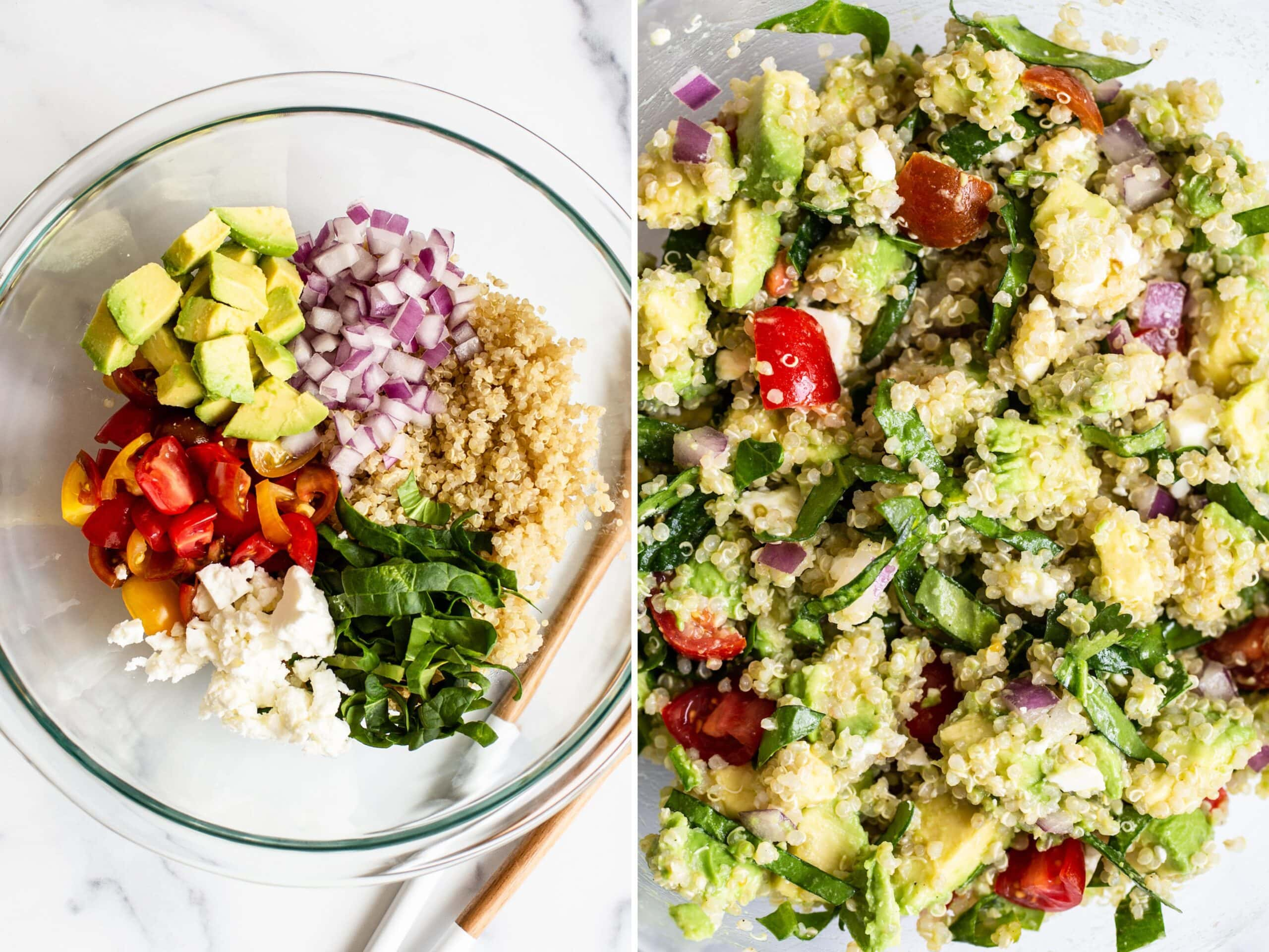Side by side photos. First is a bowl of avocado, onion, quinoa, spinach, feta and tomatoes. The second photo is of all the quinoa salad ingredients tossed together in the bowl.