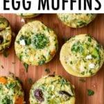 Veggie egg muffins on a wood board.