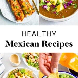 Collage of enchiladas, black bean soup, a taco salad and guacamole.