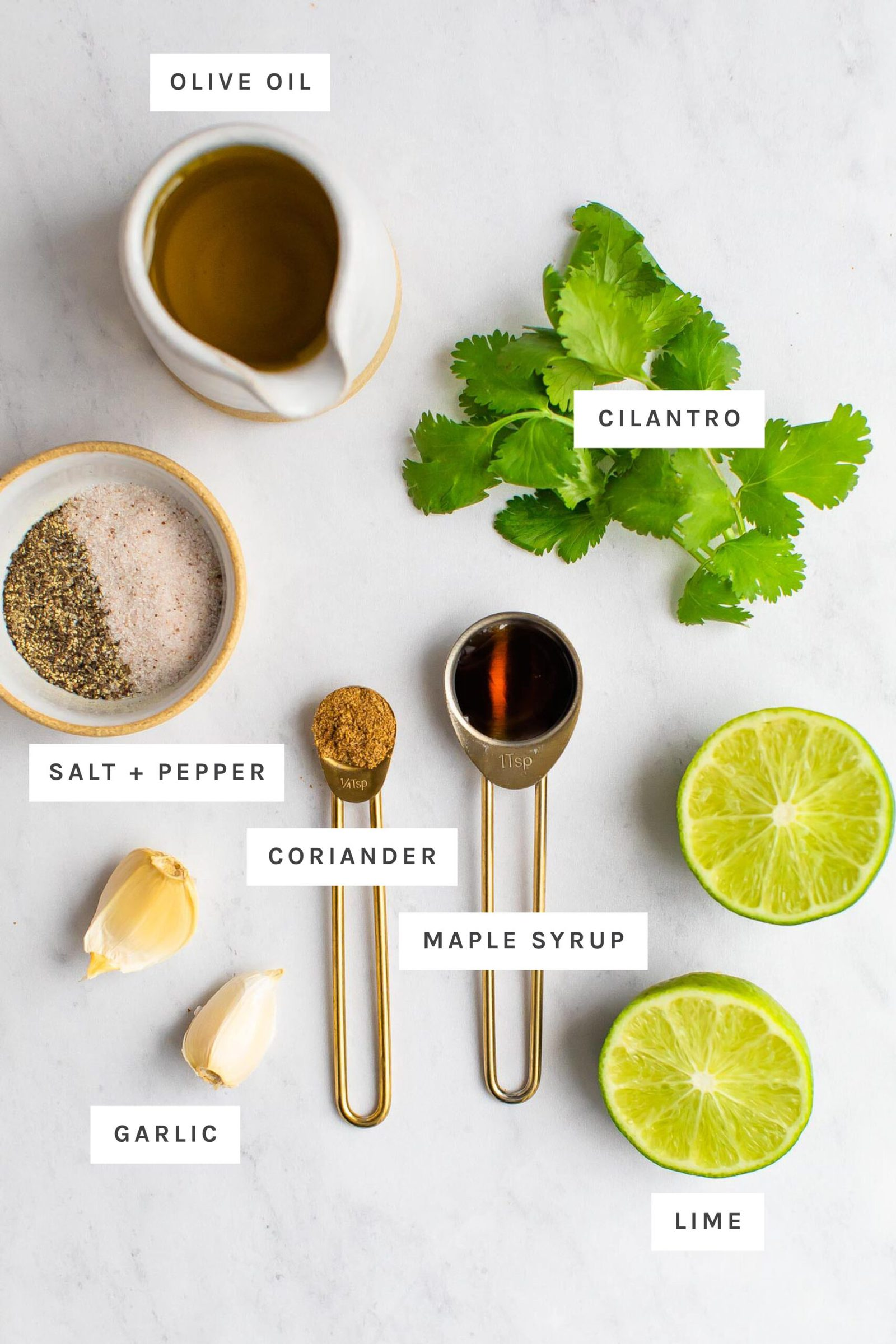 Olive oil, cilantro, salt, pepper, coriander, garlic, lime and maple measured out on a table. Each ingredient is labeled.