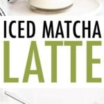 Iced matcha latte with and without whipped cream on top.