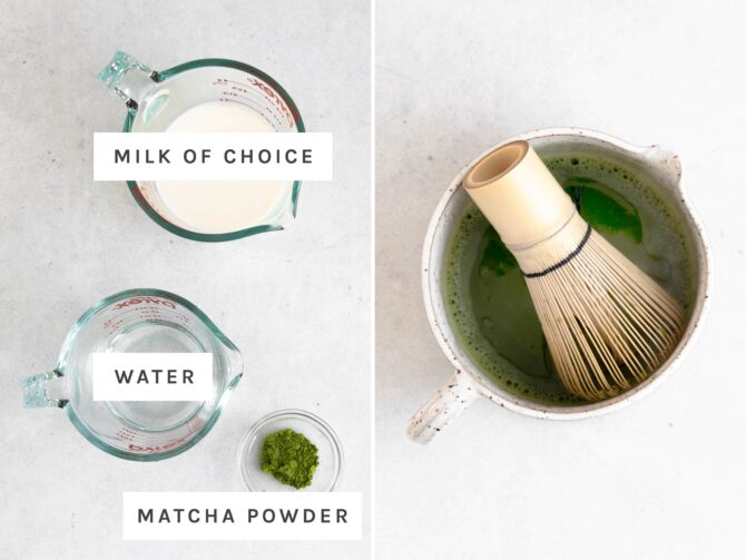Side by side photo of milk, water and matcha measured out. Other photo of matcha being whisked in water.